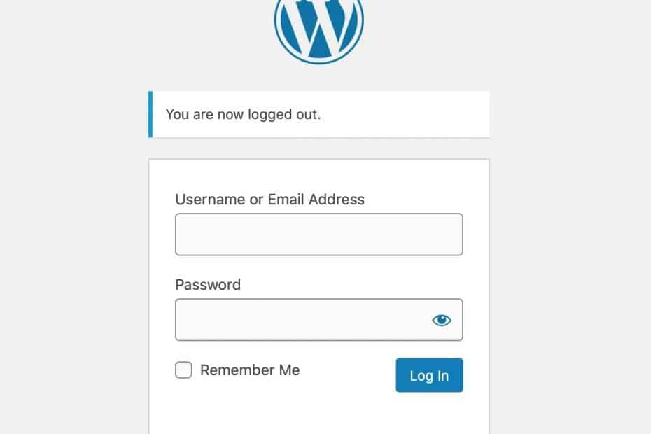 Wordpress log in page with username and password