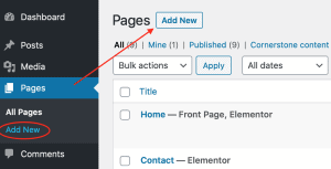 wordpress dashboard adding a new post or page
