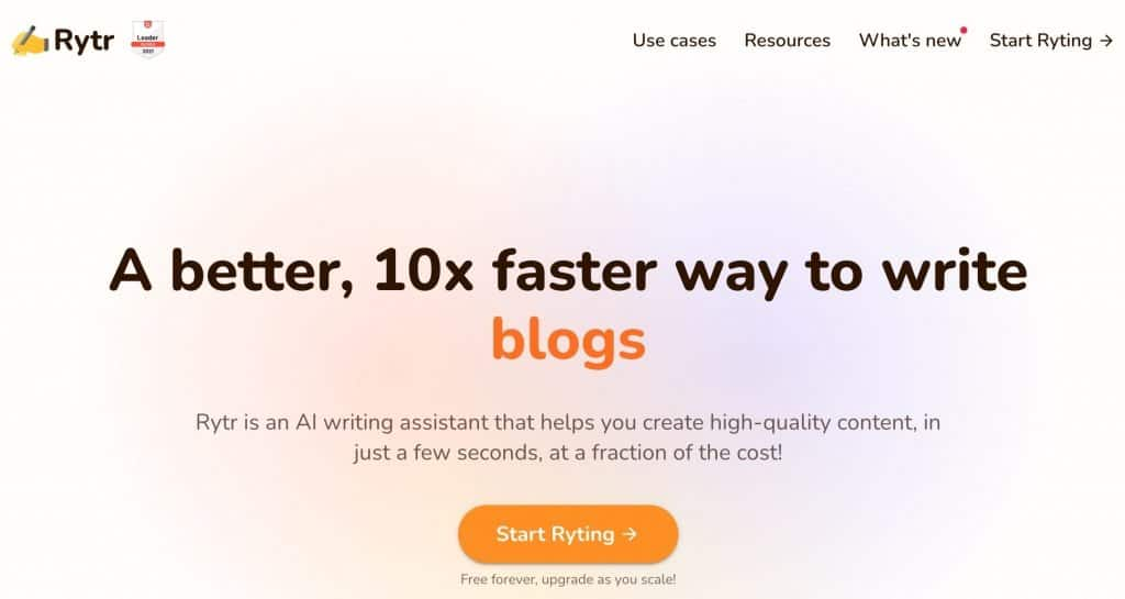 Best AI writing Software - Rytr